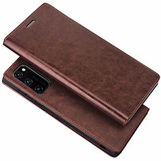 Funda de Cuero Cartera con Soporte Carcasa para Huawei Honor View 30 5G Marron
