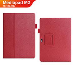 Funda de Cuero Cartera con Soporte Carcasa para Huawei MediaPad M2 10.0 M2-A10L Rojo