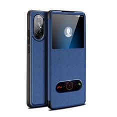 Funda de Cuero Cartera con Soporte Carcasa para Huawei Nova 8 5G Azul