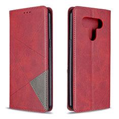 Funda de Cuero Cartera con Soporte Carcasa para LG K51 Rojo