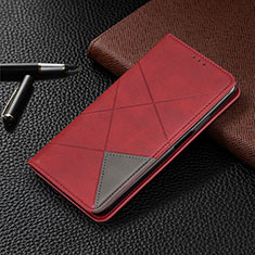 Funda de Cuero Cartera con Soporte Carcasa para Motorola Moto One Zoom Rojo