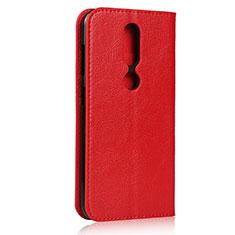 Funda de Cuero Cartera con Soporte Carcasa para Nokia 4.2 Rojo