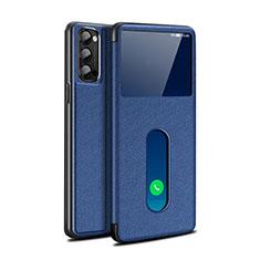 Funda de Cuero Cartera con Soporte Carcasa para Oppo Reno4 Pro 5G Azul