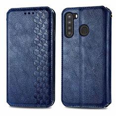 Funda de Cuero Cartera con Soporte Carcasa para Samsung Galaxy A21 Azul