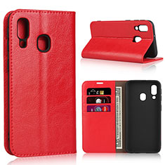 Funda de Cuero Cartera con Soporte Carcasa para Samsung Galaxy A40 Rojo