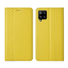 Funda de Cuero Cartera con Soporte Carcasa para Samsung Galaxy A42 5G Amarillo