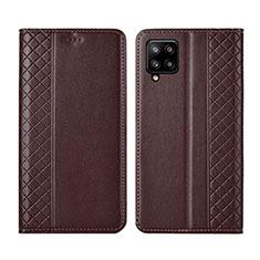 Funda de Cuero Cartera con Soporte Carcasa para Samsung Galaxy A42 5G Marron