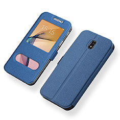 Funda de Cuero Cartera con Soporte Carcasa para Samsung Galaxy J5 (2017) Duos J530F Azul