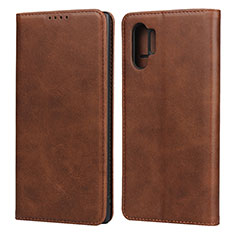 Funda de Cuero Cartera con Soporte Carcasa para Samsung Galaxy Note 10 Plus Marron