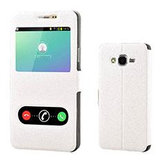 Funda de Cuero Cartera con Soporte Carcasa para Samsung Galaxy On7 G600FY Blanco