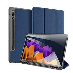 Funda de Cuero Cartera con Soporte Carcasa para Samsung Galaxy Tab S7 11 Wi-Fi SM-T870 Azul