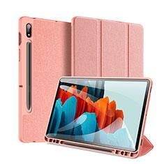 Funda de Cuero Cartera con Soporte Carcasa para Samsung Galaxy Tab S7 Plus 5G 12.4 SM-T976 Rosa