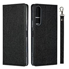 Funda de Cuero Cartera con Soporte Carcasa para Sony Xperia 1 II Negro