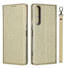 Funda de Cuero Cartera con Soporte Carcasa para Sony Xperia 1 II Oro