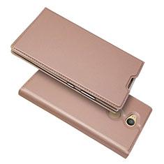 Funda de Cuero Cartera con Soporte Carcasa para Sony Xperia L2 Oro Rosa