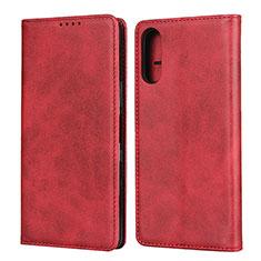 Funda de Cuero Cartera con Soporte Carcasa para Sony Xperia L4 Rojo