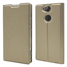Funda de Cuero Cartera con Soporte Carcasa para Sony Xperia XA2 Plus Oro