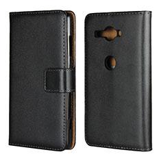 Funda de Cuero Cartera con Soporte Carcasa para Sony Xperia XZ2 Compact Negro
