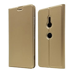 Funda de Cuero Cartera con Soporte Carcasa para Sony Xperia XZ3 Oro