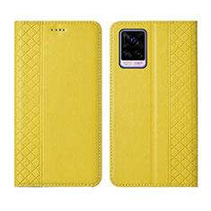 Funda de Cuero Cartera con Soporte Carcasa para Vivo V20 Pro 5G Amarillo
