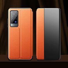 Funda de Cuero Cartera con Soporte Carcasa para Vivo X60 Pro 5G Naranja