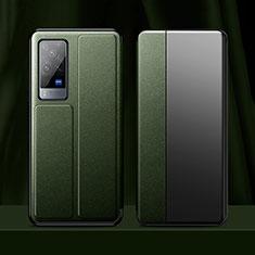 Funda de Cuero Cartera con Soporte Carcasa para Vivo X60 Pro 5G Verde Noche