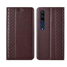 Funda de Cuero Cartera con Soporte Carcasa para Xiaomi Mi 10 Marron