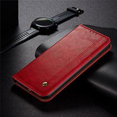 Funda de Cuero Cartera con Soporte Carcasa para Xiaomi Redmi 9 India Rojo