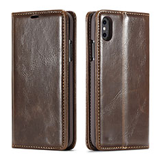 Funda de Cuero Cartera con Soporte Carcasa T01 para Apple iPhone Xs Max Marron