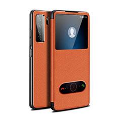 Funda de Cuero Cartera con Soporte Carcasa T01 para Huawei P40 Lite 5G Naranja
