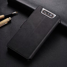 Funda de Cuero Cartera con Soporte Carcasa T01 para Samsung Galaxy A80 Negro