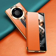 Funda de Cuero Cartera con Soporte Carcasa T02 para Huawei Mate 40 Pro+ Plus Naranja