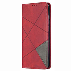 Funda de Cuero Cartera con Soporte Carcasa T02 para Huawei P Smart (2020) Rojo
