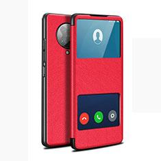 Funda de Cuero Cartera con Soporte Carcasa T02 para Xiaomi Redmi K30 Pro Zoom Rojo