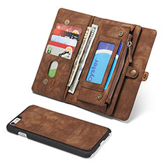Funda de Cuero Cartera con Soporte Carcasa T03 para Apple iPhone 6S Plus Marron