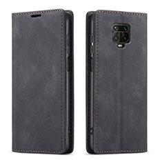 Funda de Cuero Cartera con Soporte Carcasa T03 para Xiaomi Redmi Note 9 Pro Negro