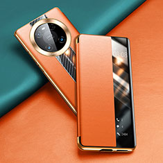 Funda de Cuero Cartera con Soporte Carcasa T04 para Huawei Mate 40 Pro Naranja