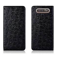 Funda de Cuero Cartera con Soporte Carcasa T04 para Samsung Galaxy A80 Negro