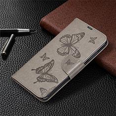 Funda de Cuero Cartera con Soporte Carcasa T04 para Xiaomi Redmi Note 9 Gris