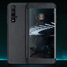 Funda de Cuero Cartera con Soporte Carcasa T05 para Huawei Nova 5T Negro
