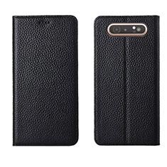 Funda de Cuero Cartera con Soporte Carcasa T05 para Samsung Galaxy A80 Negro