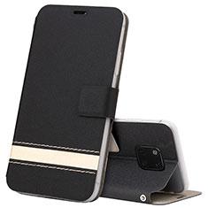 Funda de Cuero Cartera con Soporte Carcasa T06 para Huawei Mate 20 Pro Negro