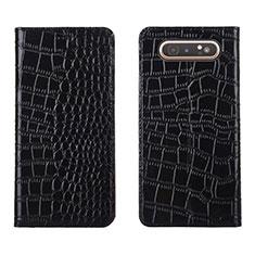 Funda de Cuero Cartera con Soporte Carcasa T06 para Samsung Galaxy A80 Negro