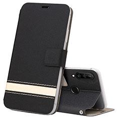 Funda de Cuero Cartera con Soporte Carcasa T07 para Huawei P30 Lite XL Negro