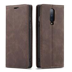 Funda de Cuero Cartera con Soporte Carcasa T07 para OnePlus 8 Marron