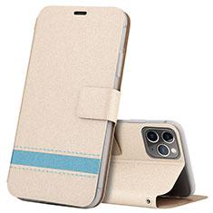 Funda de Cuero Cartera con Soporte Carcasa T08 para Apple iPhone 11 Pro Max Oro