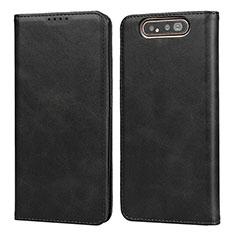 Funda de Cuero Cartera con Soporte Carcasa T08 para Samsung Galaxy A80 Negro