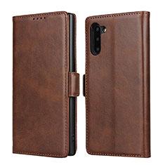 Funda de Cuero Cartera con Soporte Carcasa T08 para Samsung Galaxy Note 10 5G Marron