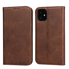 Funda de Cuero Cartera con Soporte Carcasa T09 para Apple iPhone 11 Marron
