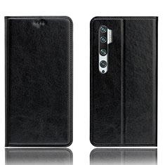 Funda de Cuero Cartera con Soporte Carcasa T12 para Xiaomi Mi Note 10 Negro